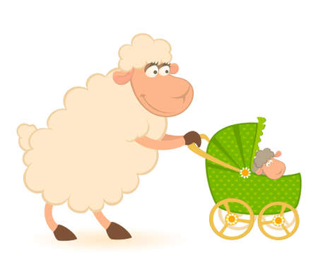 Cartoon smiling sheep with scribble baby carriage