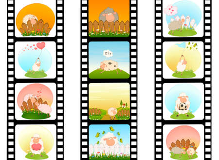 blank film colorful strip with sheep photo