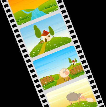 blank film colorful strip with Landscape house and cartoon sheep Stock Photo - 7588530