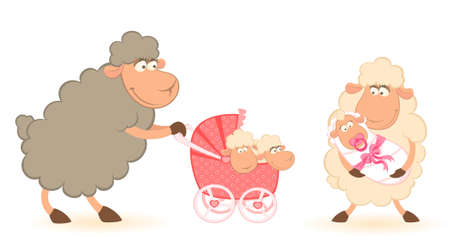 Cartoon smiling sheep mother with infant baby photo