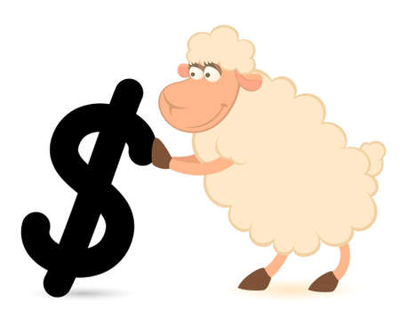cartoon sheep with the sign of dollar  photo