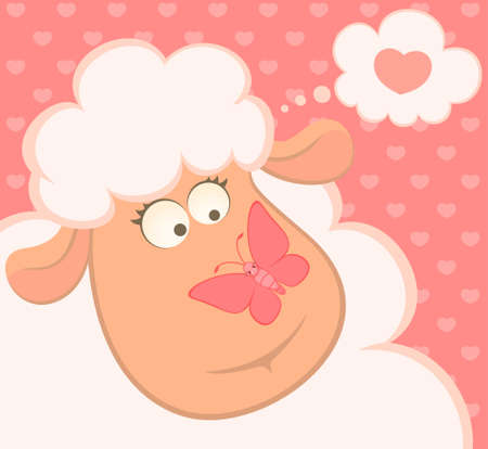 cartoon smiling sheep with butterfly photo