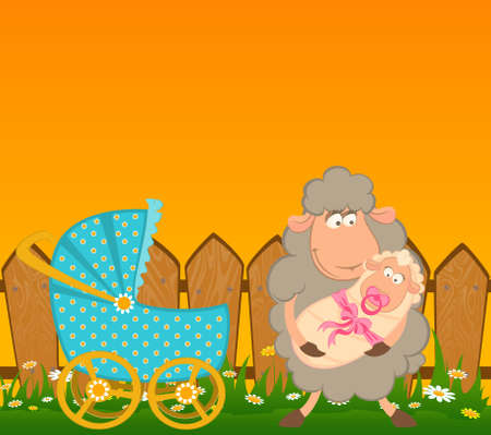 smiling sheep with scribble baby carriage photo