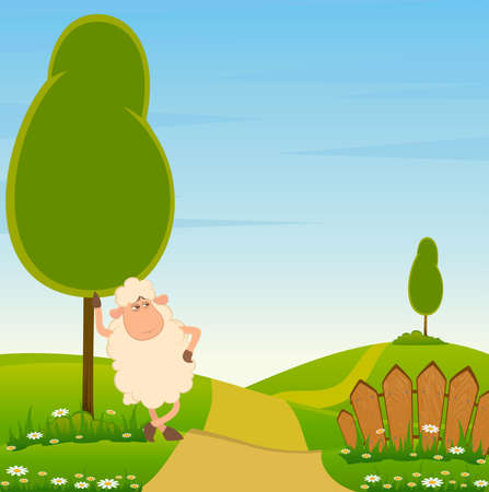 landscape with cartoon smiling sheep