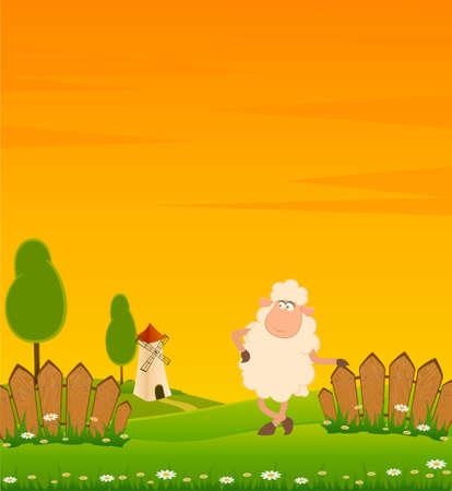 farm cartoon:  background with cartoon smiling sheep Stock Photo
