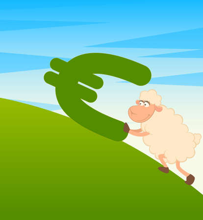 pushes: cartoon sheep with the sign of euro
