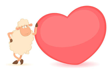 cartoon funny sheep holds a heart photo