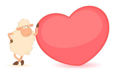 sheep clipart: cartoon funny sheep holds a heart