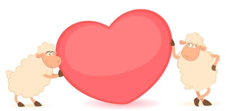 cartoon funny sheep holds a heart photo