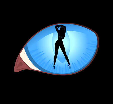 pin-up silhouette in black cat eyes in darkness Stock Photo - 7633421