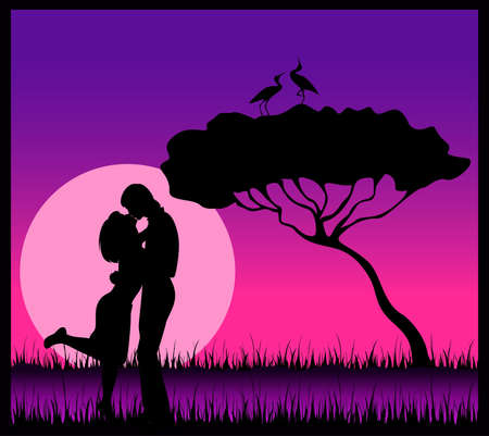 silhouette of lovers on a background safari photo