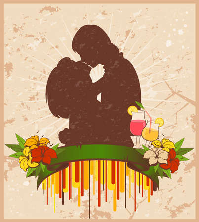 grange:  silhouette of lovers on a grange background