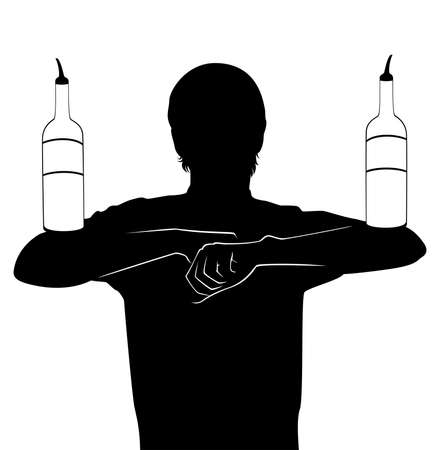 silhouette of barman showing tricks with a bottle Stock Photo - 7685950