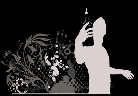silhouette of barman showing tricks with a bottle photo