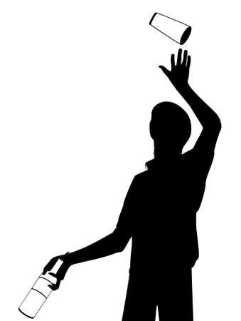 barman:  silhouette of barman showing tricks with a bottle