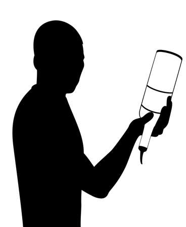 silhouette of barman showing tricks with a bottle Stock Photo - 7685967