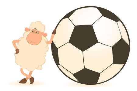 cartoon funny sheep play in football photo