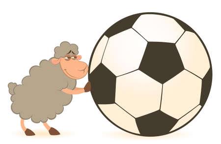 cartoon funny sheep play in football photo