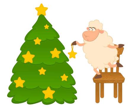year of the sheep: Cartoon funny sheep dresses up a fir-tree.  Stock Photo