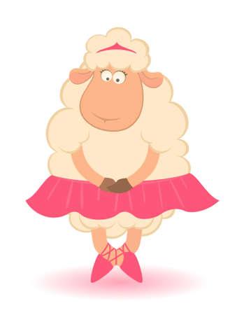 Cartoon funny sheep - ballet dancer. Stock Photo - 7762907