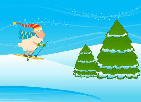 Cartoon funny skier sheep. photo