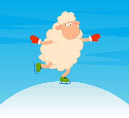 Cartoon funny sheep goes for a drive on skates photo