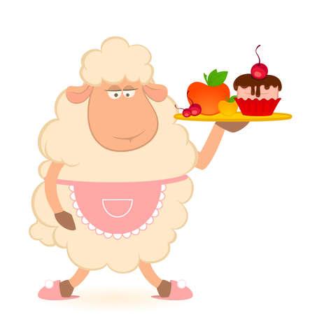 cartoon sheep - brings a food photo