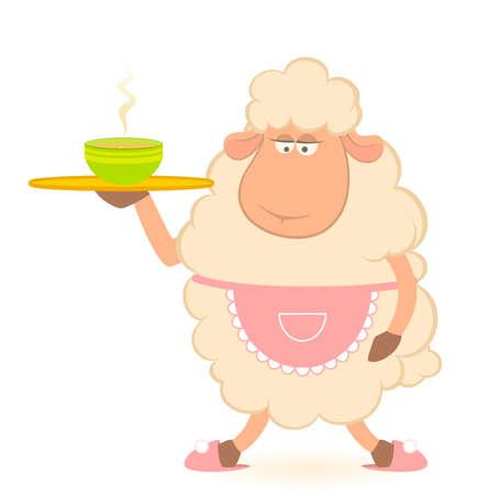 brings: cartone animato pecore - casa-proprietario porta una deliziosa zuppa Archivio Fotografico