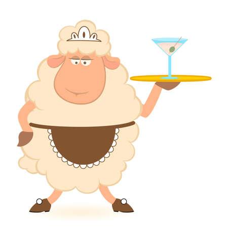 brings: cartoon sheep - waiter brings a martini Stock Photo