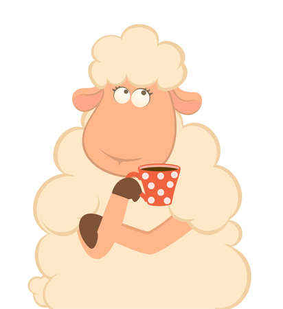 cartoon sheep has coffee  photo
