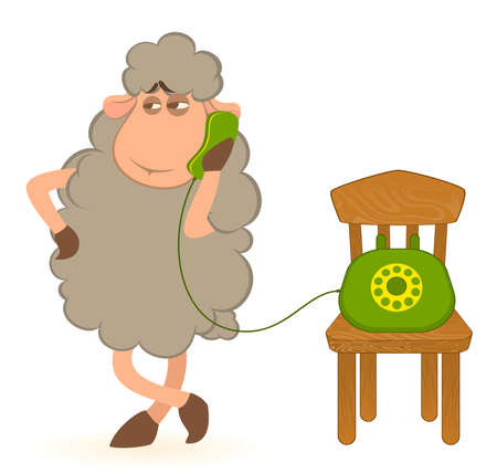 cartoon sheep speaks by phone photo