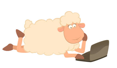 illustration of cartoon sheep with laptop illustration