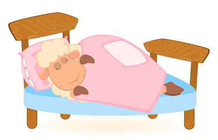illustration of cartoon sheep in bed illustration