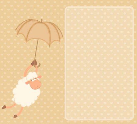 cartoon sheep sheep flies on an umbrella photo