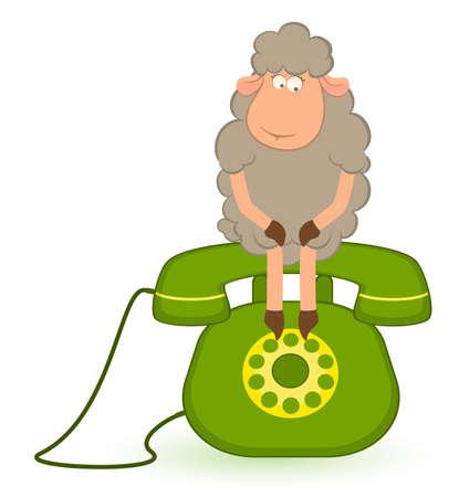 cartoon  sheep sits on a telephone, waits a bell photo