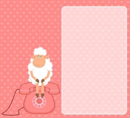 sheep sheep sits on a telephone, waits a bell photo