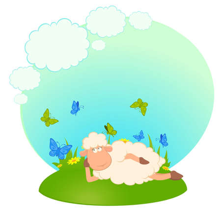 cartoon sheep dreams about love photo