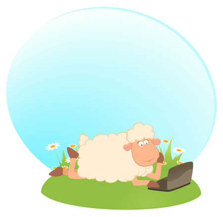 landscape  with cartoon sheep and laptop photo