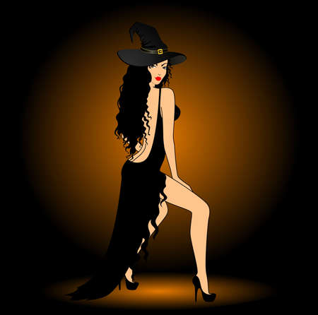 beautiful sexy witch on a dark background Stock Photo - 7881065
