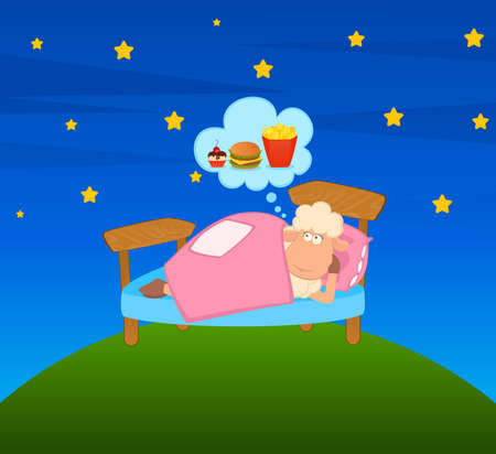 cartoon sheep in bed dreaming about t a meal photo