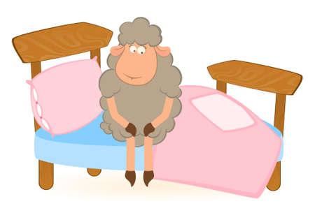 illustration of cartoon sheep in bed illustration