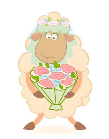 Cartoon sheep bride on white background photo