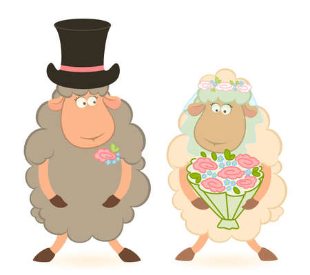 Cartoon sheep bridegroom and bride photo