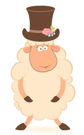 Cartoon sheep fiance on white background Stock Photo - 7881080