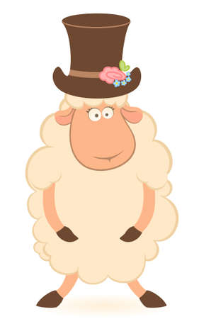 Cartoon sheep fiance on white background photo