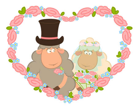 Cartoon sheep bridegroom and bride Stock Photo - 7881092