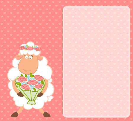 Cartoon sheep bride on pink background photo