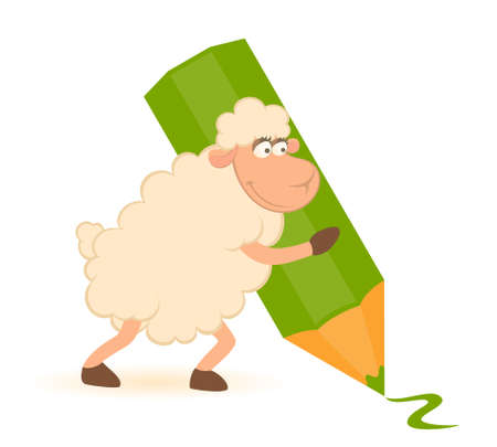 wool sheep: Cartoon sheep with green pencil on white background.