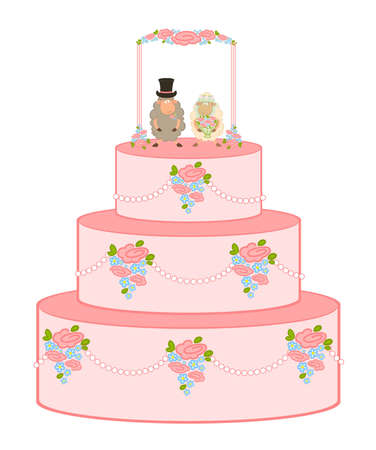 pink sweet wedding cake on white background photo