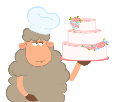 cartoon sheep holding fancy wedding cake photo